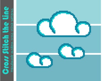 Contemporary cross stitch pattern. Modern design. Minimalist embroidery chart perfect for kids' rooms. 'Fluffy clouds'