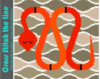 Retro cross stitch pattern of a snake. Child friendly modern embroidery chart. Minimalist contemporary design.