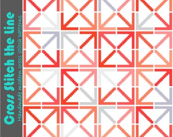 Retro cross stitch design. Mid Century Modern cross stitch pattern. Geometric design. Contemporary embroidery chart. Arrows and squares.