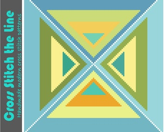 Mid Century modern geometric cross stitch pattern. Minimalist embroidery design. Triangles in soft shades of blue, green and yellow.