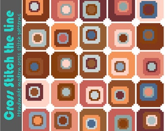 Contemporary cross stitch pattern of mosaic like squares. Modern geometric embroidery chart. Minimalist design.