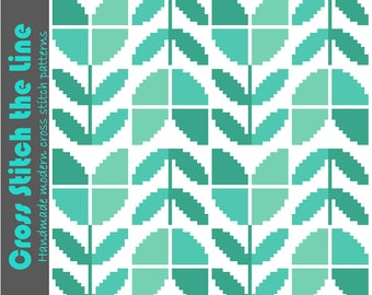 Contemporary cross stitch pattern of tulips in soft blue greens. Modern repeat design. Retro embroidery chart.