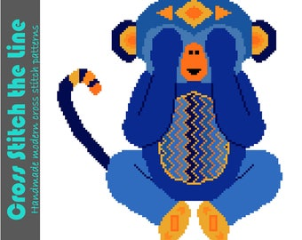 See no evil. Modern cross stitch pattern of a little monkey in bright blues. Contemporary embroidery chart. Tribal design.
