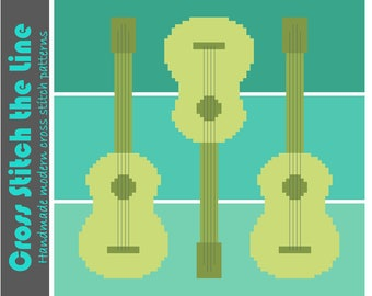 Minimalist cross stitch pattern of guitars. Cute modern embroidery chart for kids. Contemporary design.