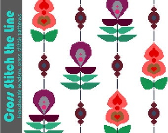 Retro cross stitch pattern of large flowers strung together on a beaded rope. Contemporary design. Modern floral embroidery chart.