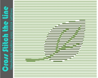 Contemporary cross stitch pattern in soft greens. Minimalist embroidery chart. Modern design. 'Floating leaf'