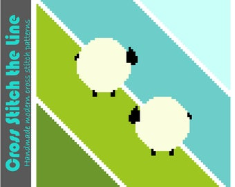Cute modern cross stitch pattern for the nursery. Contemporary design. Minimalist embroidery chart. 'Sheep on a slippery slope'