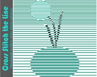 Stylish minimalist cross stitch pattern. Modern embroidery chart. Contemporary original design. 'Bud in vase'