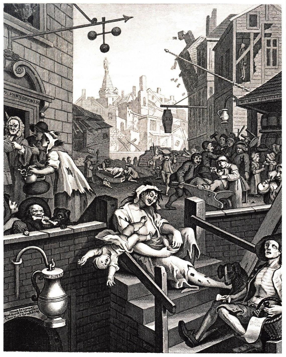 William Hogarth Gin Lane Vintage 1751 Repro Art Print 10 x 8 image 0