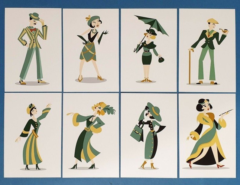Postcrossing Set of 8 NEW Postcards 1920s Art Deco Style Characters Roaring 20s