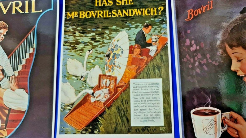Set of 3 Vintage Reproduction BOVRIL Advertising Postcards by Mayfair Cards