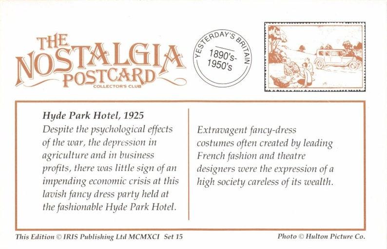 Nostalgia Postcard 1925 Fancy Dress Hyde Park Hotel London #L152