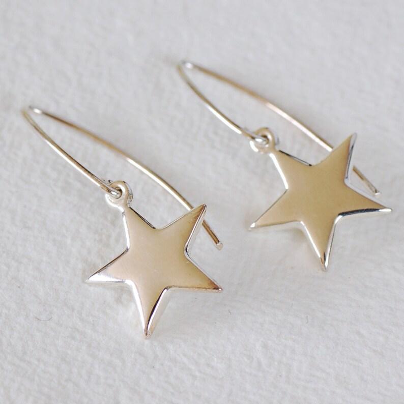 23f1ed980 Silver Star Wire Earrings Wedding Anniversary | Etsy