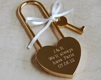 Personalised Love Padlock, Engagement Love Lock, Personalised Heart Padlock, Paris Padlock, Engraved Heart Padlock, Gold Love Lock