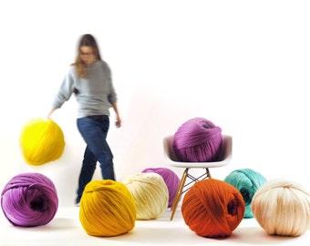 DIY Arm knitting merino wool. 3 inch stitch.