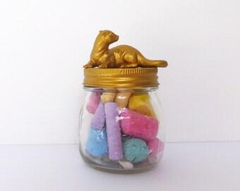 Gold Otter Mason Jar Topper / Otter Home Storage Décor / Gold Otter Jar Storage / Otter Animal Jar Lid Decoration / Otter Mason Jars