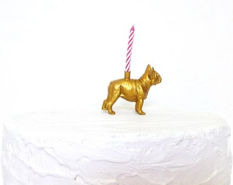 Gold Boxer Dog Candle Holder Cake Topper / Boxer Dog Birthday Party Decor Supplies / Puppy Dog Animal Party Decor / Boxer Cupcake Decoration