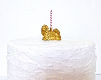 Gold Maltese Dog Puppy Dog Holder Cake Topper / Puppy Dog Birthday Party Decor / Party Supplies / Animal Party Decor / Cupcake Decorations