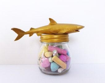 Gold Whale Shark Mason Jar Topper / Gold Shark Jar Storage / Sea Animal Mason Jar / Gold Shark Animal Jar Lid Decoration / Small Mason Jar