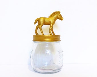Gold Horse Foal Mason Jar / Horse Storage Jar / Decorative Home Storage / Small Gold Horse Jar / Animal Storage Container / Horse Birthday