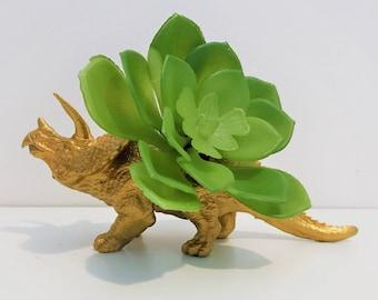 Small Gold Triceratops Planter / Home Storage Décor / Triceratops Succulent Pot / Air Plant Planter / Dinosaur Planter / Desk Accessory Gift
