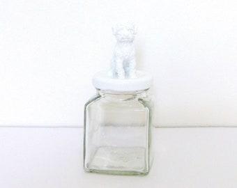 White Poodle Dog Mason Jar Topper / Puppy Dog Home Storage Decoration / Mini Dog Jar Storage / Animal Jar Lid Decoration / Dog Mason Jar