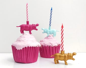 White Gold Pink Blue Hippopotamus Candle Holder Cake Topper / Hippo Birthday Party Decor / Hippo Animal Party / Hippo Cupcake Decorations