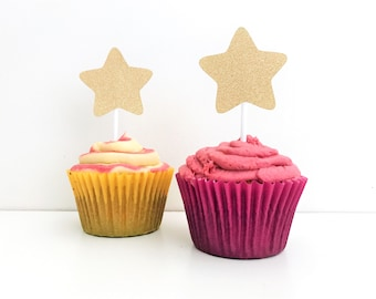 6 Gold Glitter Star Cupcake Toppers / Star 'You're a Star' Party Decor / Gold Glitter Start / Glitter Cupcake Toppers / Gold Glitter Cake