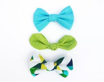 Blue Green 3 Hair Bow Set / Lime Green Polka Dot Knot Bow / Blue Hair Bow / Lime Green Hair Accessory / Girls Bow / Hair Bows Alligator Clip