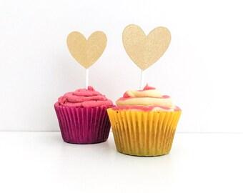 6 Gold Glitter Heart Cupcake Toppers / Love Heart Engagement Party Decor /  Glitter Love Heart / Glitter Cupcake Toppers / Gold Glitter Cake