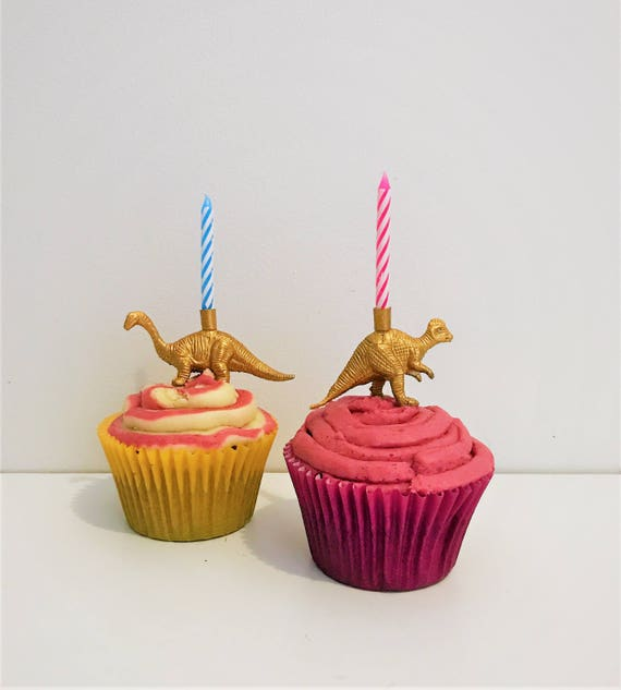 Gold Dinosaur Cake Topper Candles Party
