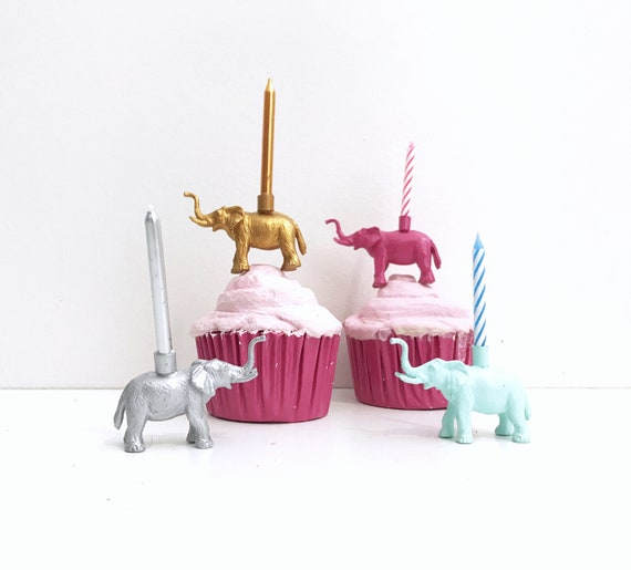 White Gold Blue Pink Elephant Candle Holder Cake Topper