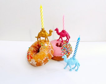 Gold Pink Blue Camel Candle Holder Cake Topper / Animal Birthday Party Decor / Camel Party Supplies / Camel Party Decor / Cupcake Decoration