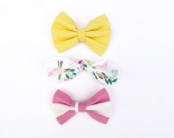 3 Bows Yellow Pink Stripe Spring Birds Hair Bow Clip / Spring Hair Accessories / Buttercup Yellow Girl Bow / Alligator Clip / Pink Hair Bow