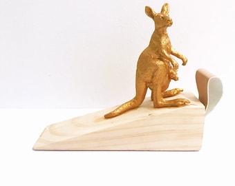 Gold Kangaroo Door Stop / Animal Doorstop Door Wedge / Quirky Animal Doorstop / Kangaroo Decor / Gold Kangaroo Door Wedge / Doorstopper