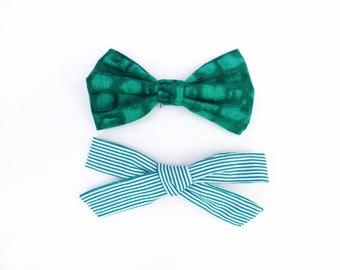2 Green Hair Bow Set / Green Tie-Dye & Green Stripes / Green Two Bow Set / Forest Green Bows / Girls Hair Bows Clips / Fabric Bows for Girls