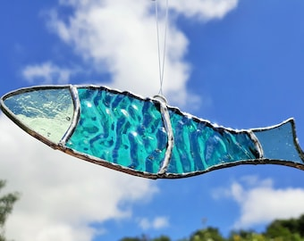 Stained Glass Fish Suncatcher,  glass fish ornament, angler gift, Fish lover gift, Fishing gift, iridescent glass, fathers day gift