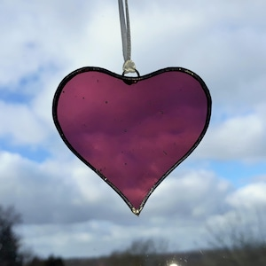 Wedding favours small glass heart ornament Pretty clear glass Anniversary gift Mini Recycled Glass Heart Suncatcher