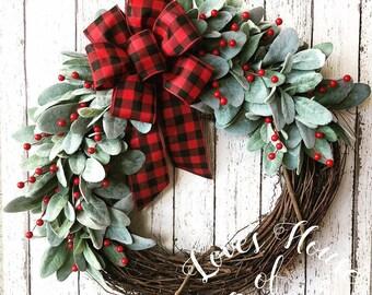 best seller christmas wreath farmhouse wreath buffalo check wreath farmhouse christmas wreath rustic christmas wreath lambs ear wreat