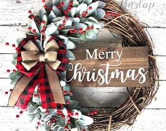 Christmas wreath, Farmhouse Christmas, Buffalo Check Christmas wreath, Buffalo plaid Christmas decor, Farmhouse Christmas decor