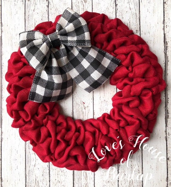 Buffalo Check Christmas Wreath.Christmas Wreath Buffalo Plaid Christmas Wreath Red Burlap Wreath Farmhouse Valentine Wreath Buffalo Check Wreath Valentines Day Wreath