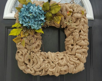 Square Wreath, Hydrangea Wreath, Flower Wreath, Burlap Wreath, Front Door  Wreath,