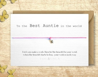 Auntie Wish Bracelet Gift Best Card Aunt Friendship New Birthday