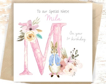 1st Birthday Card Personalised Peter Rabbit 2nd First Niece New Baby Nephew