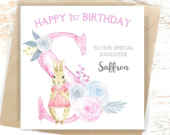 1st Birthday Card Personalised Peter Rabbit 2nd First Niece Daughter