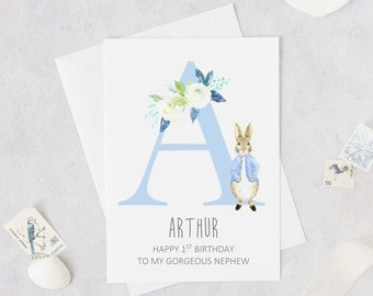 PERSONALISED 1st Birthday Card Peter Rabbit 2nd First Nephew New Baby Niece