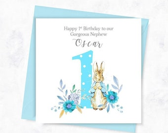 PERSONALISED 1st Birthday Card Peter Rabbit 2nd For Son First Nephew 3rd Niece