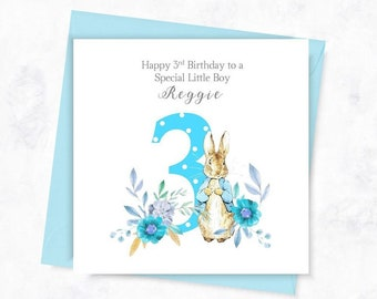 PERSONALISED 3rd Birthday Card Peter Rabbit Boys Personalised First For Son Nephew Happy