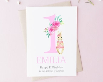 PERSONALISED 1st Birthday Card Personalised Peter Rabbit 2nd Niece 3rd