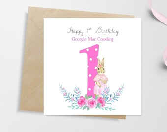 PERSONALISED 1st Birthday Card Peter Rabbit Girls Personalised First Niece Happy Nephew